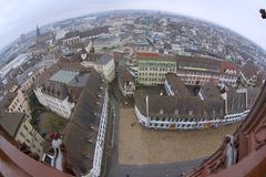 Wide angle aerial view to Basel city from Munster tower on a rainy day in Basel, Switzerland. Stock Images