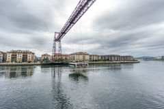 Wide angle of the Bizkaia suspension bridge Royalty Free Stock Photo