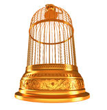 Wide-angle bottom view of golden birdcage Royalty Free Stock Images