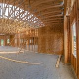 Wide angle building interior contstruction square stock images