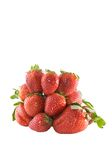 Wide angle of bunch of strawberries. Bunch of strawberries isolated on white background stock photo