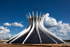 Brasilia Cathedral. Wide angle of the Cathedral of Brasilia in Brazil. Designed as two hands joined by Oscar Niemeyer Stock Images