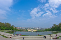 Wide angle cityscape view of Vienna from Gloriette at Schenbrunn Stock Photos
