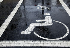 Handicapped Parking Space at Winter Stock Photo