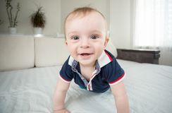 Wide angle closeup portrait of cute smiling baby boy looking in camera. Wide angle portrait of cute smiling baby boy looking in camera Royalty Free Stock Images