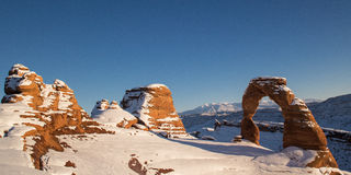 Wide angle of Delicate Arch in Winter Royalty Free Stock Image