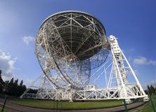 Wide angle dish. The Lovell Radio Telescope seen from below in very wide angle Royalty Free Stock Images