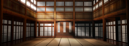 Wide Angle Dojo Background. Wide Angle Martial Arts Dojo Studio Backdrop for Portraits Royalty Free Stock Photo