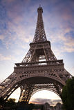 Wide angle of the Eiffel Tower from below Royalty Free Stock Photos