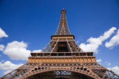 Wide angle of the Eiffel Tower from below stock photography
