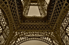 Wide angle of Eiffel tower in Paris. HDR-processed image with excellent resolution of tone nuances Royalty Free Stock Photo