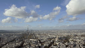 Wide Angle establishing shot Paris city with panning left intro. Daytime stock video