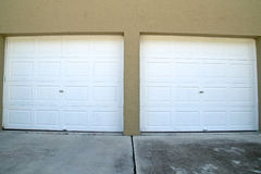 Wide angle garage doors closed Royalty Free Stock Photography