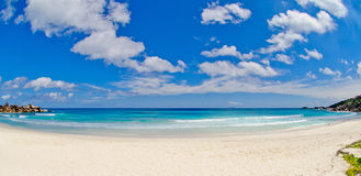 Wide angle of grande Anse beach in the seychelles Stock Photography