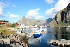 Wide angle inside Hamnoy's  harbour Stock Photography