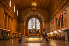 Wide-angle inside view of Union Station in Toronto