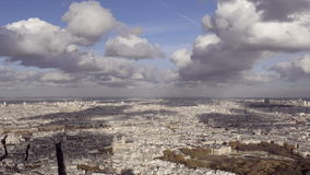 Wide Angle introduction shot of Paris city with Notre Dame and several monuments. Daytime stock footage