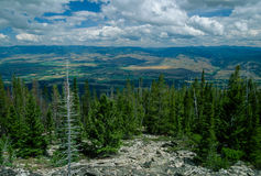 Wide Angle Landscape of the Beautiful Bitterroot Valley on a Gor Stock Image