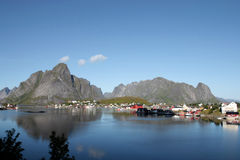 Wide angle landscape of Reine in Lofoten Stock Images