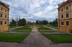Wide angle landscape view of scenic garden in Jaromerice nad Rokytnou baroque palace, national cultural monument. South Moravia, Czech Republic, Central Europe royalty free stock photos