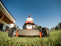 Wide angle of lawnmower Royalty Free Stock Image