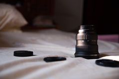 Wide angle lens on bed Stock Photos
