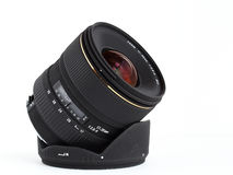 Wide-angle lens for DSLR camera Stock Photo