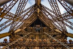 Elevator shaft on the eiffel tower in a wide angle shot. Royalty Free Stock Photo