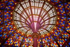 Wide angle look at stained glass ceiling in Louisiana Old State Capitol Building stock photos
