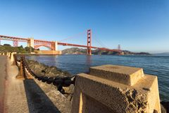 Marine Dr, Golden Gate Bridge. Wide angle of the Marine Dr street with the Golden Gate Bridge as background royalty free stock image