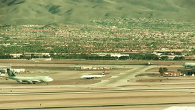 Wide Angle Midday Airport Runway Traffic stock video