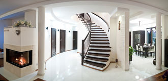 Wide angle modern home. Wide angle panorama of a modern home interior royalty free stock photo