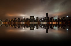 Wide angle of New york skyline. A shot of new york city skyline at night Royalty Free Stock Images