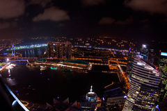 Wide angle night time aerial view of Singapore city skyline Stock Images
