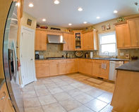 Wide Angle Of Modern Kitchen Stock Photos