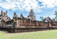 Wide Angle, the outer walls of Prasat Sadok Kok Thom in Thailand Royalty Free Stock Photo