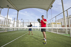 Wide angle paddle tennis Royalty Free Stock Photo