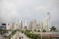 Wide shot of large buildings in Panama City royalty free stock images
