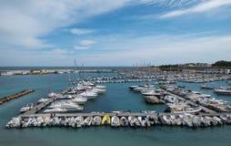 Wide angle panorama of the port of Otranto on the Salento peninsula, Puglia, South Italy. Otranto, Italy. Wide angle panorama of the port of Otranto on the royalty free stock photo