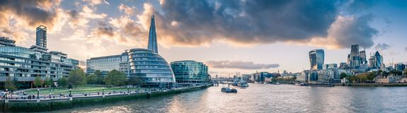 Wide Angle Panorama of the Thames River royalty free stock image