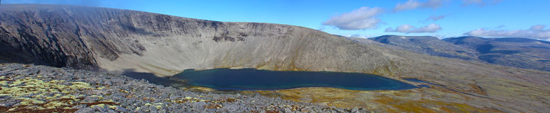Wide angle panoramic photo of mountain lake Stock Photo