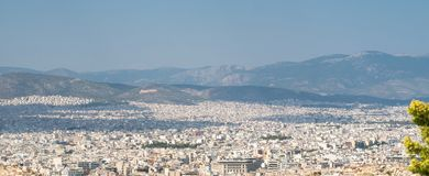 Wide angle panoramic view to Athens. Amazing greece. Travel background royalty free stock photo