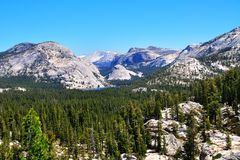 Wide angle photography in Yosemite National Park, with mountains Stock Image