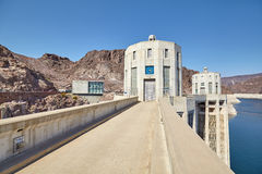 Wide angle picture of the Hoover Dam intake towers. Royalty Free Stock Photography