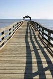 Wide angle pier. Wide angle shot of pier over ocean Stock Images