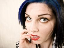 Wide Angle Portrait of a Apprehensive Rockabilly G stock photo