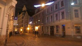 Wide angle POV walk through old city hyperlapse. Riga, Latvia. December 2016. 4K UHD