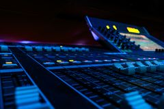 Wide Angle Professional Audio Mixing Board/ Console stock image