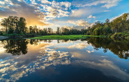 Wide Angle River Clouds Reflection Royalty Free Stock Image