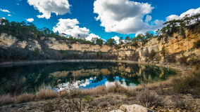 Wide angle of round lakes in palancares, Cuenca. Sliding camera stock video footage